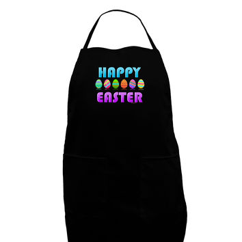 Happy Easter Decorated Eggs Dark Adult Apron