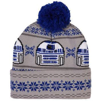 Star Wars R2-D2 Droid Fair Isle Pattern Licensed Adult Beanie Hat - Grey/Blue