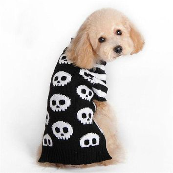 CREY6F New Skull Pattern Halloween Dog Costume Clothes Pet Funny Acrylic  Knitted Pet Clothing Small Dog Teddy Sweaters Coat S/X/M/L