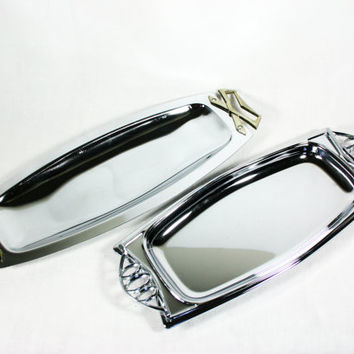 Vintage Bread and Roll Trays Set of Two Kromex and Milbern Creations