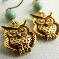 Owl Earrings - Swarovski Jade Pearl Earrings by threestonebirds