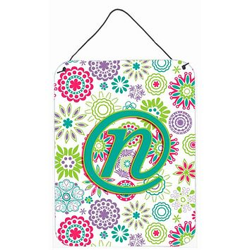 Letter N Flowers Pink Teal Green Initial Wall or Door Hanging Prints CJ2011-NDS1216