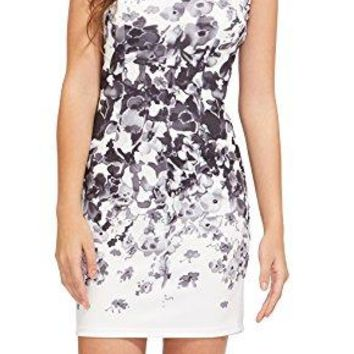 Women's Round Neck Summer Dresses Floral Print Sleeveless Sexy Bodycon Cocktail Party