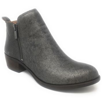 Lucky Brand Basel Pewter Rock Leather Booties