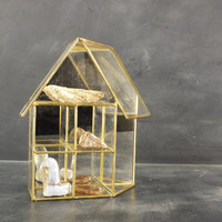 Sweet Little Brass and Glass House Curio Cabinet Display with Mirror Backing