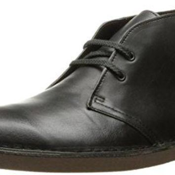 Clarks Men's Bushacre 2 Desert Boot, Black Smooth, 9.5 M US
