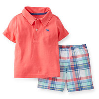 2-Piece Jersey Top & Cotton Shorts Set