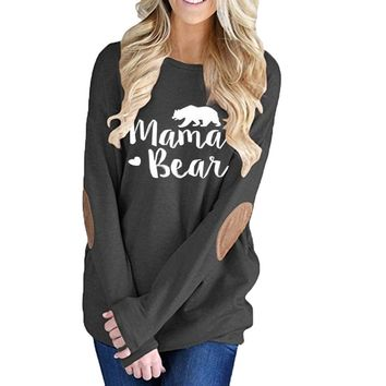 Mama Bear, Long Sleeve, Elbow Patch, Pullover (Small-XXL)