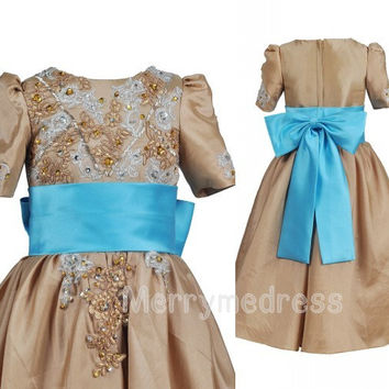 Beads Chocolate Sequins Crew Waistband Bowknot Short Sleeves Long Flower Dress, Taffeta Formal Evening Party Prom Dress New Homecoming Dress