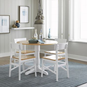 Christy Transitional Round Dining Table Light Oak/ White 40""