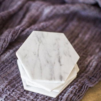 SALE // Four Hexagon Marble Coasters // Set of 4 // geometric coasters // geometric wedding favors