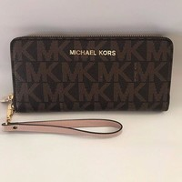 Michael Kors trendy fashion leather zipper wallet F