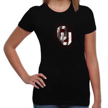 Oklahoma Sooners Women's Chrome Fusion Fitted T-Shirt – Black