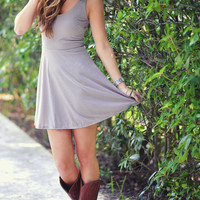 Twinkle In Her Eye Dress: Stone Grey | Hope's