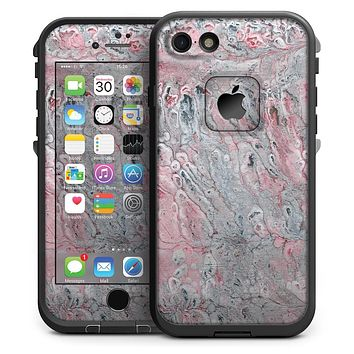 Abstract Wet Paint Subtle Pink and Gray - iPhone 7 LifeProof Fre Case Skin Kit