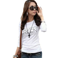 2015 Summer Casual Women T Shirt Women Tops Long Sleeve O Neck Bottoming Party Clothing  Ropa Mujer Plus Size