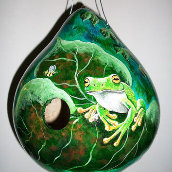 Gourd Birdhouse Tree Frog and Honey Bee by SharonsCustomArtwork