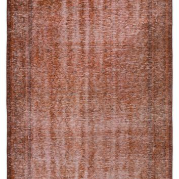 BROWN OVERDYED VINTAGE RUG 4'6'' X 8'0'' FT 137 X 244 CM