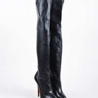 DCCK2 Black Christian Louboutin Leather Sempre Monica 120 Thigh High Boots