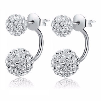 2016 New Fashion Round Crystal cc boucle d'oreille femme Double Side earring full perlas Stud Earrings For Woman gift E1775