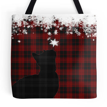 Christmas Tartan Shoulder Bag, Christmas Cat and Snowflakes Tote Bag, Red Tartan Shopping Bag