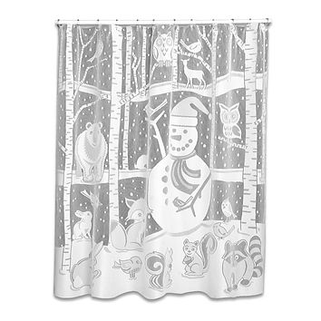 Christmas SNOWMAN SHOWER CURTAIN Polyester White 7295Woc