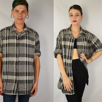 90s Plaid Shirt Men XL Soft Grunge Preppy Hipster Tar Tan Black White Collar Thick Cotton Vintage Mens Clothing Womens Unisex Oversize