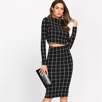 Stand Collar Long Sleeve 2 Piece Set Women Crop Grid Top and Pencil Skirt Ladies Elegant Office Ladies Two Piece Set