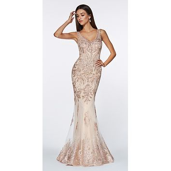 Fitted Embellished Lace Gown Rose Gold Illusion Beaded Straps Open Back