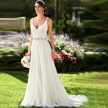Sexy V-neck Chiffon Crystal and Beading A-line Beach Wedding Dress With Open Back  Cheap Bridal Dress