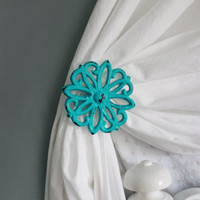 Curtain Tie backs, Holdback, Set of two, Shabby Chic Home, Nursery, Window Decor, Turquoise