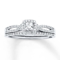 Diamond Bridal Set 1/2 ct tw Princess-cut 14K White Gold