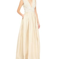 Sleeveless Embellished-Bodice Gown, White/Nude