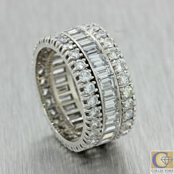 Vintage Estate Platinum 5.00ctw Diamond Eternity Wedding Band Ring Wide