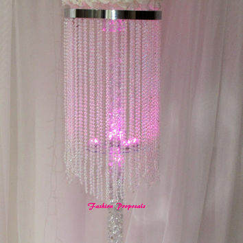 10 Table top chandelier Wedding  centerpiece, 1 tiers of iridescent beads coming from top to bottom , Wedding Centerpiece. set of 10 499.00