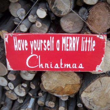 Rustic Christmas Sign- Reclaimed Wood Sign-Have Yourself a Merry Little Christmas-Red and White Sign-Primitive Sign-Wood Sign