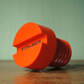 "Massimo Vignelli ""Nuts And Bolts"" Oversized Screw Bottle - Mid Century Pop Art Orange Plastic Bottle"