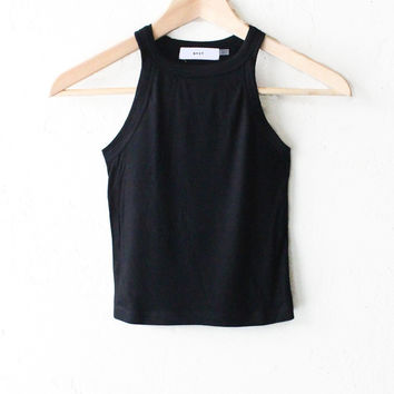 Ribbed Crop Tank Top - Black