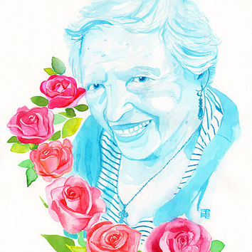 GRANDMA personalized portrait - Custom watercolor PAINTING one person with elements extra