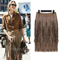 Fashion Style 2016 New Heavy Hierarchical High Waist Straight Leather Skirt Fringed Suede Tassel Saias Skirts Womens S M L