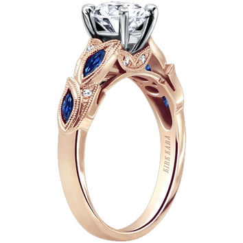 "Kirk Kara ""Dahlia"" Marquise Cut Blue Sapphire Diamond Engagement Ring"