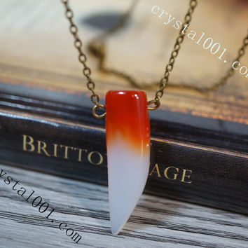 Red agate necklace stone wolf tooth necklace crystal necklace healing necklace yoga necklace chakra energy necklace  bridesmaid neckalce