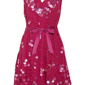 Nina Ricci Lace-paneled taffeta dress - 60% Off Now at THE OUTNET
