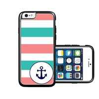 RCGrafix Brand Blue Pink Striped Anchor Small iPhone 6 Case - Fits NEW Apple iPhone 6