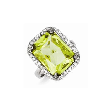 Sterling Silver Rectangle Clear & Lt. Green CZ Ring: RingSize: 7