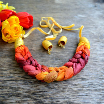 Spit necklace made of natural silk batik and earrings. OAK . necklace braid