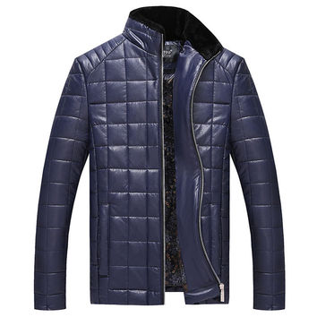 Quilted faux leather jacket men