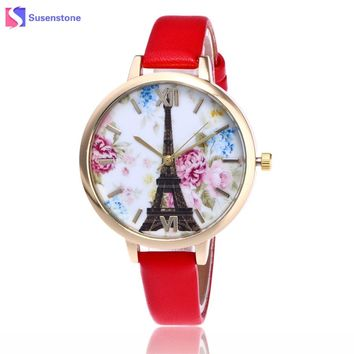 Vogue Paris Eiffel Tower Flower Print Women Fashion Watch 2017 Small Leather Band Analog Quartz Wristwatch Ladies Female Watches