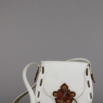 Carry On White Leather Saddle Bag