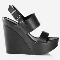 WIDE DOUBLE STRAP PLATFORM WEDGE SANDAL from EXPRESS